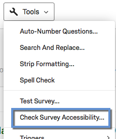 Tools Menu Accessibility Option