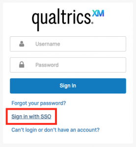 Screenshot of sign in box for Qualtrics support